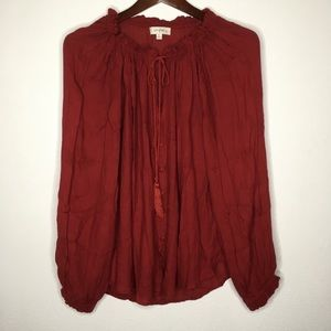 Umgee + Maroon Peasant Blouse w/Tie Front Size XL